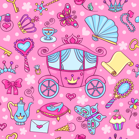 Seamless pattern with cute carriage. Vector cartoon background.