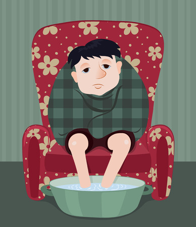 infirm: The ill man sits in a red armchair. Cartoon vector illustrator.
