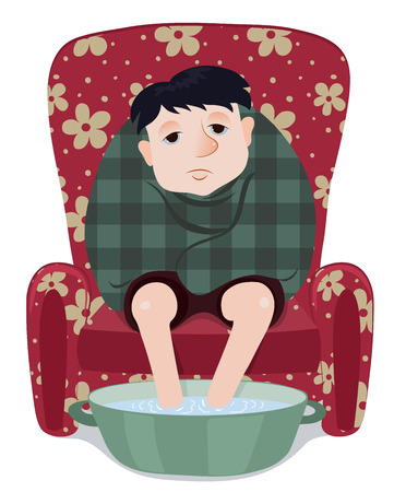 feeble: The ill man sits in a red armchair. Cartoon vector illustrator. Isolated on white.