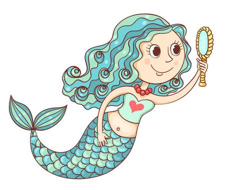 Cute mermaid with mirror. Isolated on white. Cartoon vector illustration. Vector