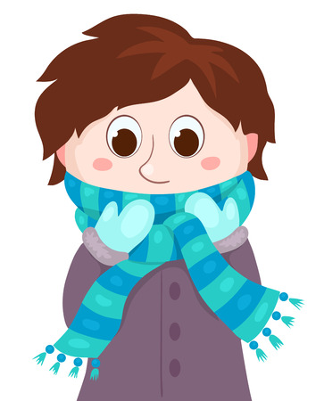clothes cartoon: Le gar�on en v�tements d'hiver. Vector cartoon illustration. Isol� sur blanc. Illustration