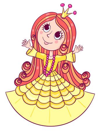 beauty queen: Little cute princess. Cartoon children illustration. Isolated on white. Illustration