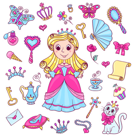 Cute princess set. Vector cartoon children illustration. Isolated on white.