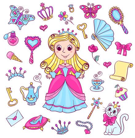 Cute princess set. Vector cartoon children illustration. Isolated on white.