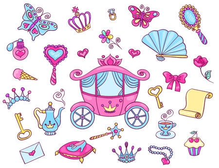 fairy tale princess: Cute princess set with carriage. Vector cartoon children illustration. Isolated on white.