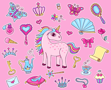 Cute princess sticker set with unicorn. Vector cartoon illustration. Illustration