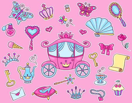 Cute princess sticker set with carriage. Vector cartoon illustration.