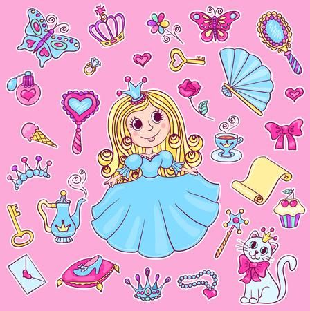 Cute princess sticker set. Vector cartoon children illustration.