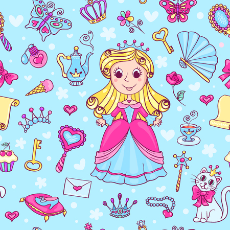 princess dress: Seamless pattern with cute little princess in the pink dress. Cartoon vector background. Illustration