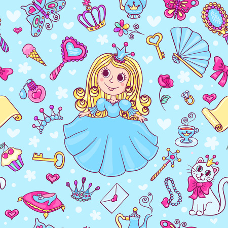 Seamless pattern with cute little princess. Cartoon vector background. Vector
