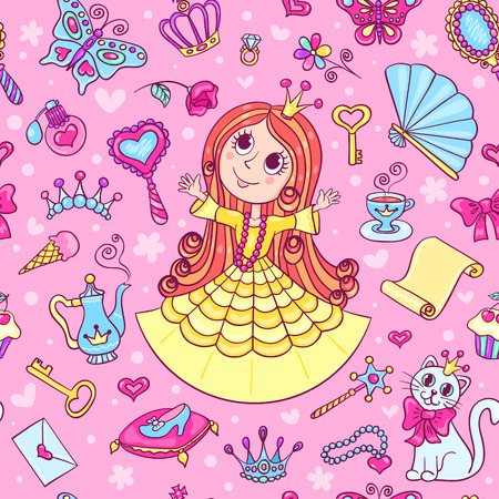 yellow dress: Seamless pattern with cute little princess in the yellow dress. Cartoon vector background.