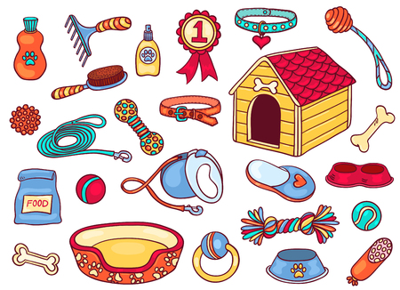 toy house: Set of accessories for dogs. Isolated on white. Vector cartoon illustration.