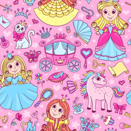 princesa: Modelo incons�til con las tres peque�as princesas lindas. Vector de dibujos animados de fondo. Vectores