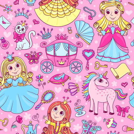 fairy tale princess: Seamless pattern with three cute little princesses. Vector cartoon background.