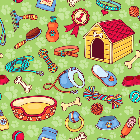 Seamless pattern with accessories for dogs. Vector cartoon background.
