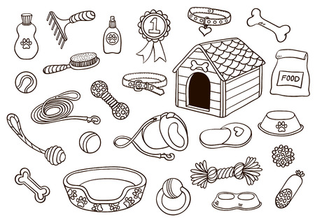 pet shop: Set of accessories for dogs. Vector hand-drawn illustration. Isolated on white.