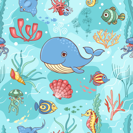 Seamless pattern with whale. Vector cartoon background. Vector