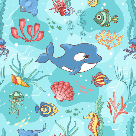 Seamless pattern with killer whale. Vector cartoon background. Vector