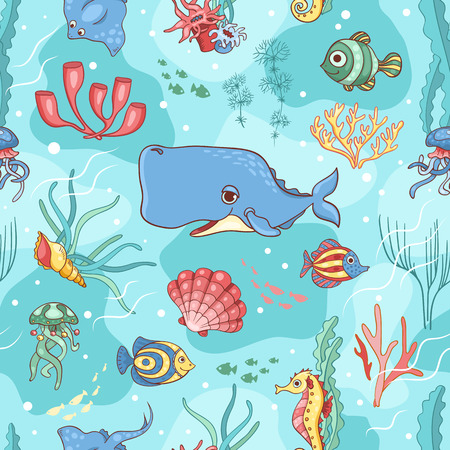 cachalot: Seamless pattern with whale. Vector cartoon background.