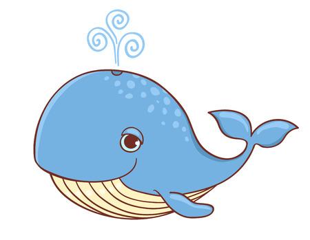 caricaturas de animales: Ballena azul lindo aislado en blanco. Ilustración vectorial de dibujos animados. Vectores