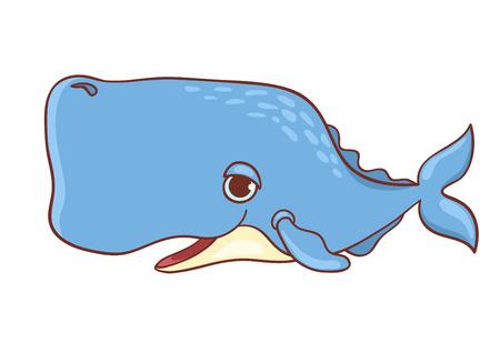 espermatozoides: Lindo cachalot aislado en blanco. Ilustración vectorial de dibujos animados.