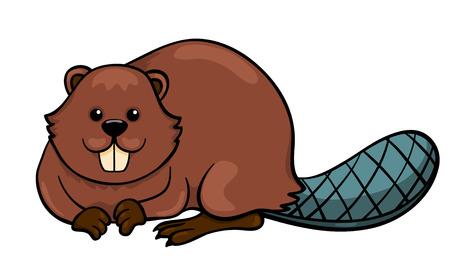 castor: Beaver aislado en blanco. Ilustración vectorial de dibujos animados. Vectores