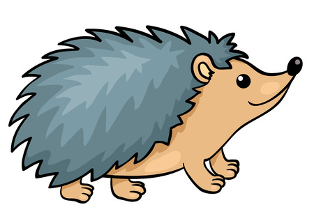 the animated cartoon: Hedgehog isolated on white.  Illustration