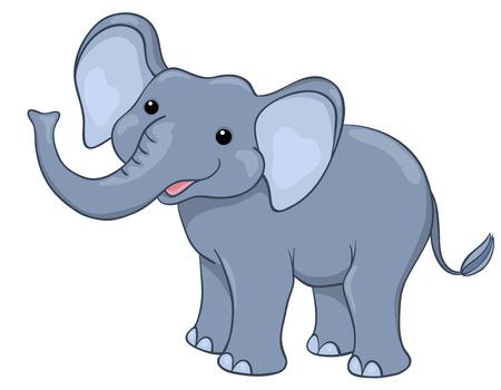 Happy elephant. Isolated on white.  Illustration