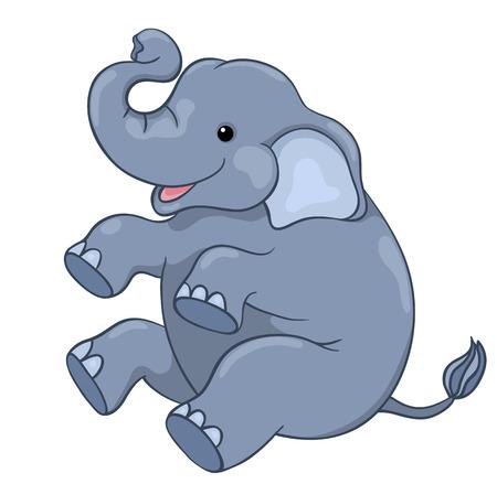 big ear: Happy elephant sitting. Isolated on white.