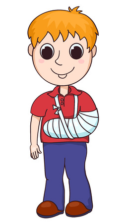 children only: Cute boy with the broken arm. Vector cartoon illustration. Isolated on white.
