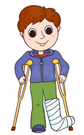 pierna rota: Muchacho lindo con la pierna rota. Ilustración vectorial de dibujos animados. Aislado en blanco.