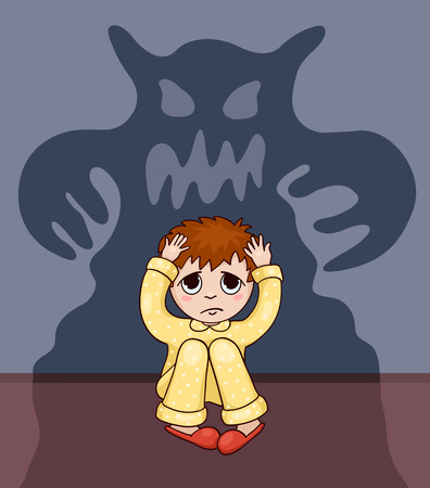 fear illustration: Little boy and his fear. Vector cartoon bllustration.