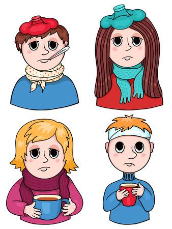 unwell: Set of sick children. Vector cartoon illustration. Isolated on white.