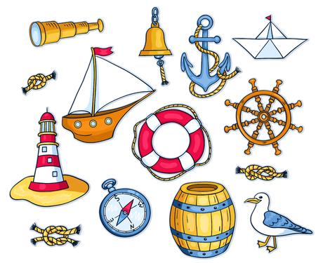 Insieme di oggetti marini. Vector cartoon illustrazione per l'infanzia. Isolati su bianco. Archivio Fotografico - 40981166