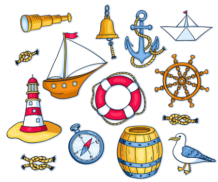 anchor drawing: Set of sea objects. Vector cartoon illustration for children. Isolated on white. Illustration