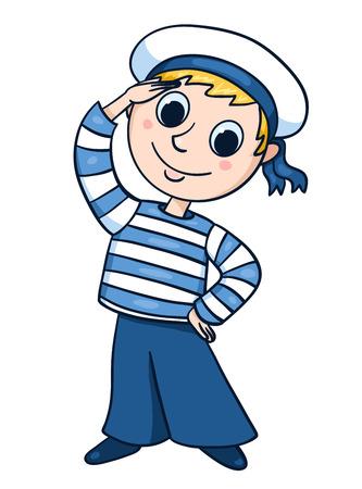 小さな船乗り。ベクトル漫画イラスト子供のため。白で隔離。  イラスト・ベクター素材