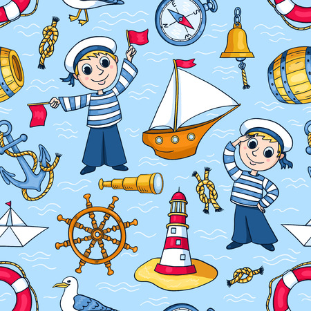 Sailors seamless pattern. Cute vector cartoon background. Vector