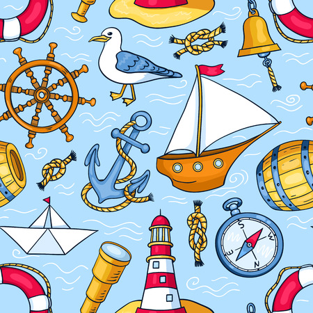cruise cartoon: Seamless pattern with sea objects. Vector cartoon background for children.