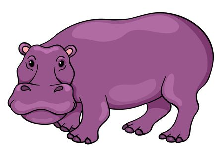 line drawing: Cute cartoon hippopotamus. Vector children illustration. Isolated on white.