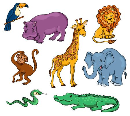 cartoons animals: African animals set.Vector cartoon illustration. Isolated on white.