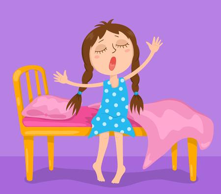 La linda chica se despierta. Vector ilustración de dibujos animados.