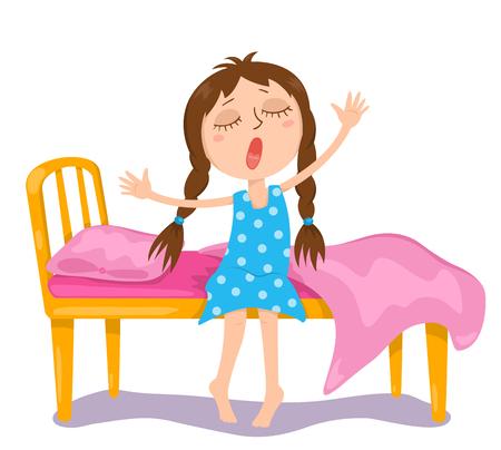 Het schattige meisje wordt wakker. Vector cartoon illustratie. Geïsoleerd op wit. Stock Illustratie