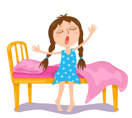 yawning: The cute girl wakes up. Vector cartoon illustration. Isolated on white.