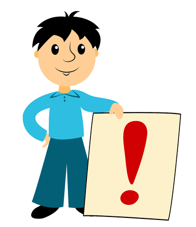 Computer instruction: The boy with sign. Clip art for buseness. Isolated on white. Vector.