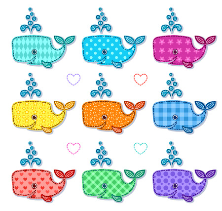 Set of nine happy color sperm whales. Vector cartoon illustration. Isolated on white.