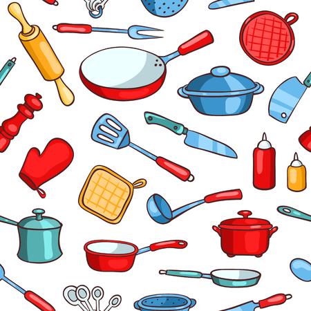 Seamless pattern cartoon kitchen ware. Vector background. Stock Photo