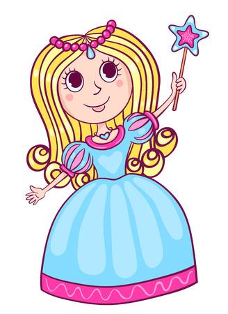 Cute little princess. Cartoon children illustration. Isolated on white. Stock Photo