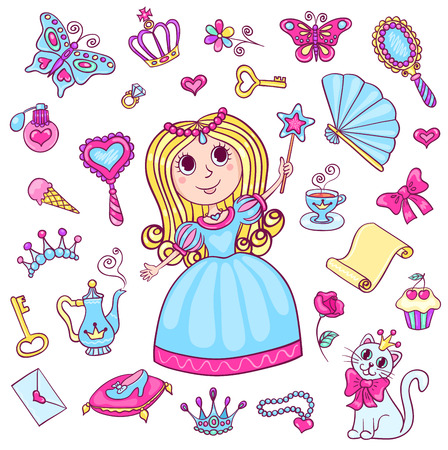 child looking in mirror clipart. princess mirror: set with cute little princess. cartoon vector illustration for children. isolated child looking in mirror clipart