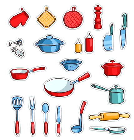 Set of cartoon kitchen ware. Vector children illustration. Isolated on white. Stock Photo