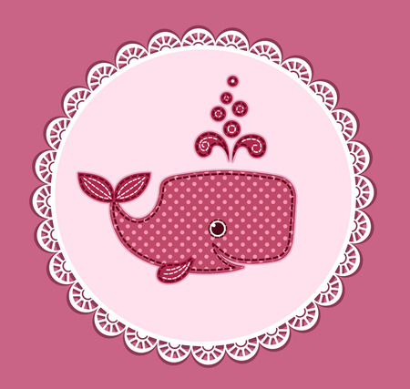 Cute little cartoon whale. Card for baby shower. Vector illustration.